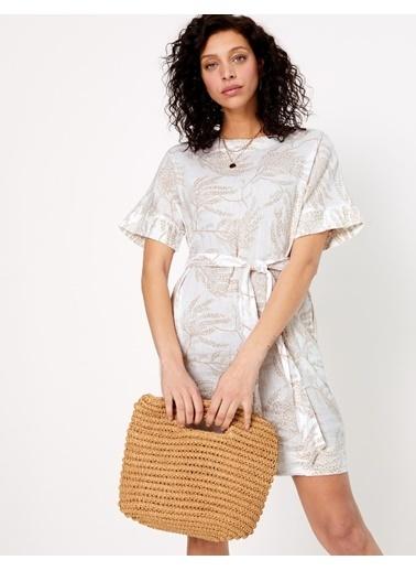 Marks & Spencer Desenli Kimono Elbise Krem